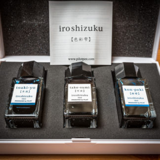 Pilot Iroshizuku Ink Bottle Gift Set – 3x 15ml (tsuki-yo, take-sumi, kon-peki)